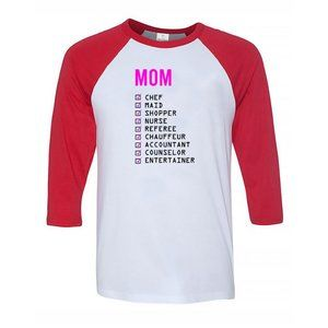 Youth Kids MOM 3/4 Sleeve Baseball Tee